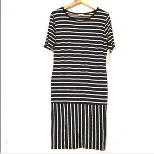 NWT Lularoe Black/White Striped Julia Dress Size L